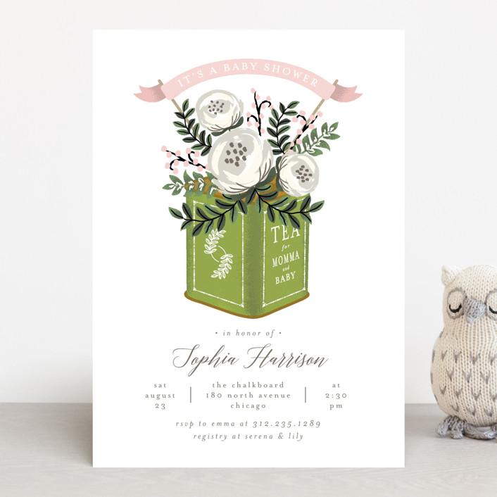 """Tea Tin"" - Baby Shower Invitations in Peony by Lehan Veenker."