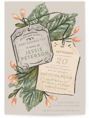 Tea Time Bouquet Baby Shower Invitations