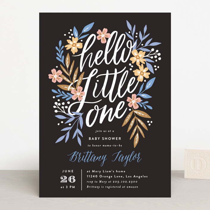 """""""Hello Little One Florals"""" - Baby Shower Invitations in Seagreen by Alethea and Ruth."""