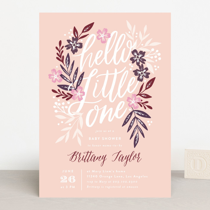 """Hello Little One Florals"" - Baby Shower Invitations in Seagreen by Alethea and Ruth."