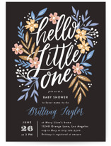 This is a black baby shower invitation by Alethea and Ruth called Hello Little One Florals with standard printing on signature in standard.