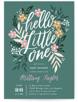 This is a green baby shower invitation by Alethea and Ruth called Hello Little One Florals with standard printing on signature in standard.