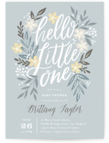 This is a grey baby shower invitation by Alethea and Ruth called Hello Little One Florals with standard printing on signature in standard.