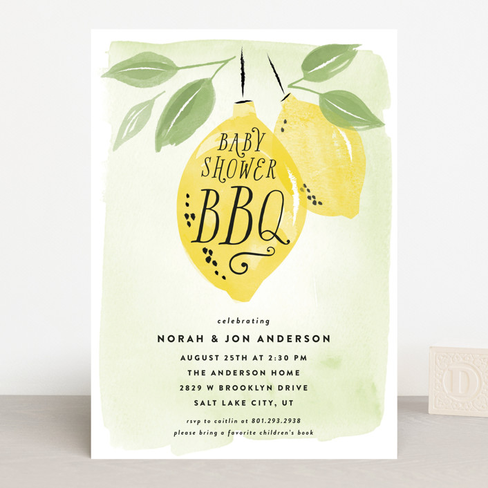 """""""Baby Shower BBQ"""" - Baby Shower Invitations in Lemon by Robert and Stella."""