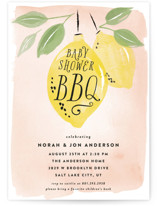 This is a pink baby shower invitation by Robert and Stella called Baby Shower BBQ with standard printing on signature in standard.