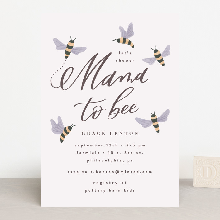 """""""Mama To Bee"""" - Baby Shower Invitations in Butter by Everett Paper Goods."""