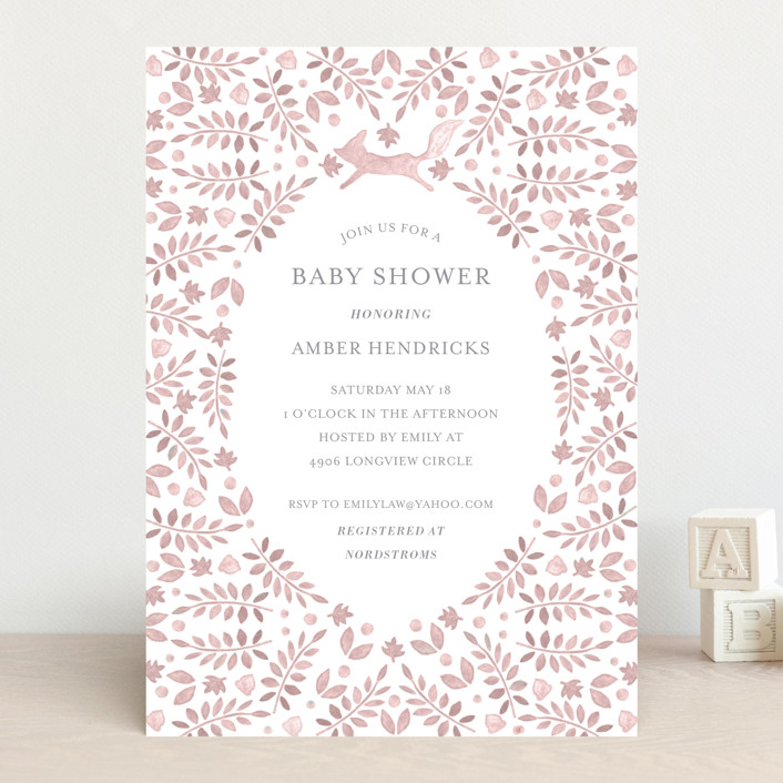 """Foxy Baby Shower"" - Baby Shower Invitations in Denim by Hallie Fischer."