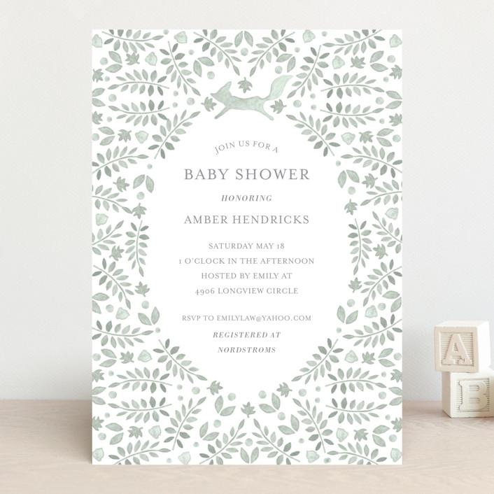 """""""Foxy Baby Shower"""" - Baby Shower Invitations in Denim by Hallie Fischer."""