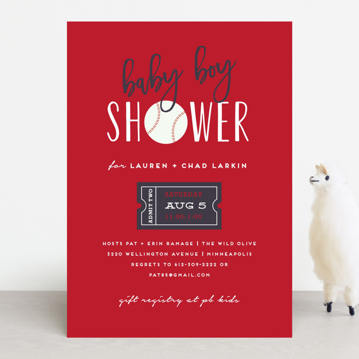 """""""Baseball"""" - Baby Shower Invitations in Navy by Susan Brown."""
