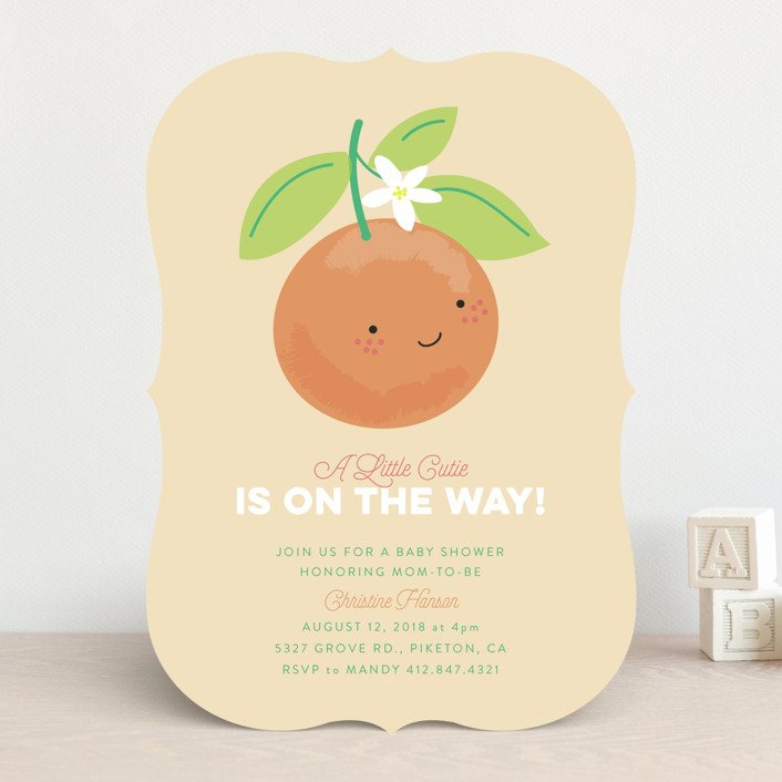 """""""Little Cutie"""" - Baby Shower Invitations in Citrus by Itsy Belle Studio."""