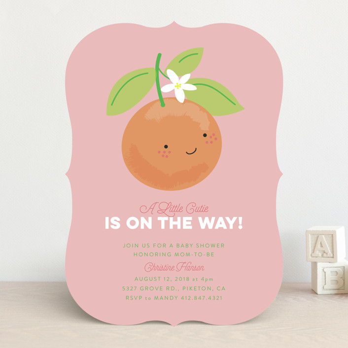 """Little Cutie"" - Baby Shower Invitations in Citrus by Itsy Belle Studio."