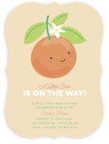 This is a orange baby shower invitation by Itsy Belle Studio called Little Cutie with standard printing on signature in standard.