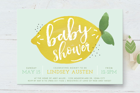 sweet lemon Baby Shower Invitations