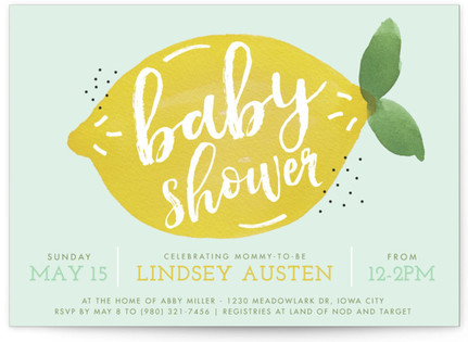 sweet lemon Baby Shower Invitations