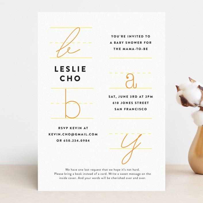 """Letters"" - Baby Shower Invitations in Cornflower by Jennifer Lew."