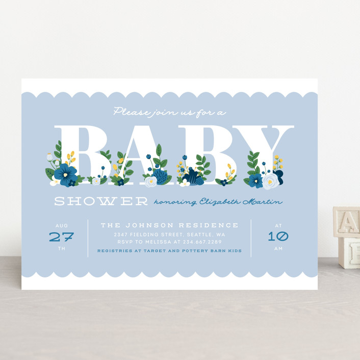 """""""Sweet Blooms"""" - Baby Shower Invitations in Bluebell by Ink and Letter."""