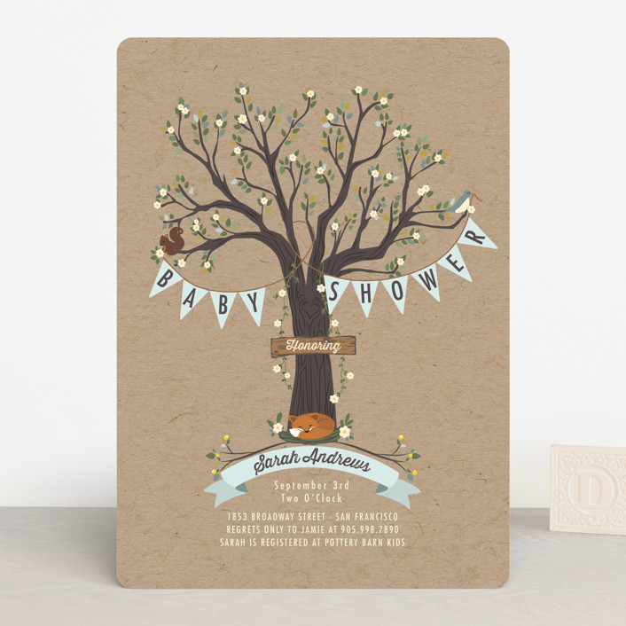 """""""Woodland Baby"""" - Rustic, Vintage Baby Shower Invitations in Natural by Susan Moyal."""