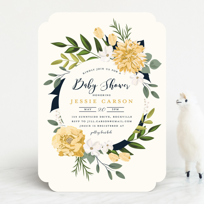 """""""Summer Shower"""" - Baby Shower Invitations in Blush by Susan Moyal."""