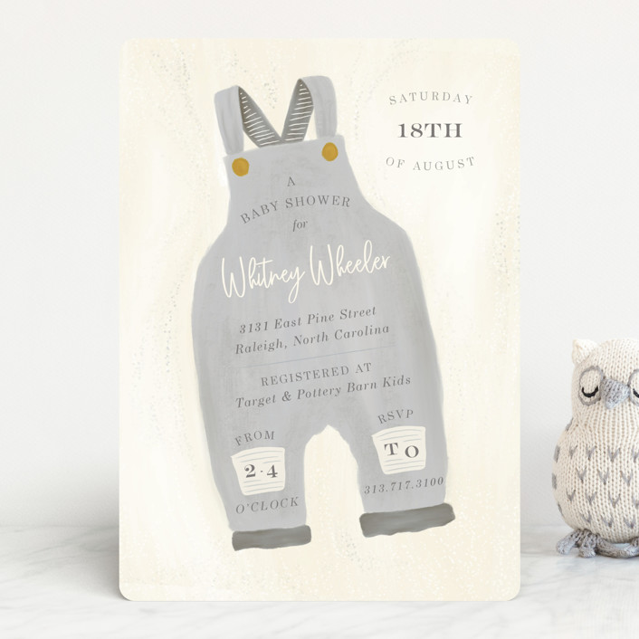 """""""Blue Jean Baby"""" - Baby Shower Invitations in Chambray by Julie Murray."""