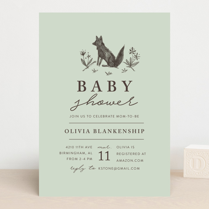 """""""Fox Hill"""" - Baby Shower Invitations in Peach by Amy Kross."""