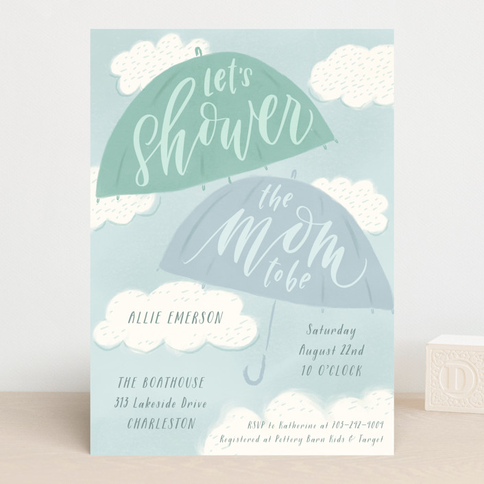 """A Chance of Showers"" - Baby Shower Invitations in Aqua by Julie Murray."