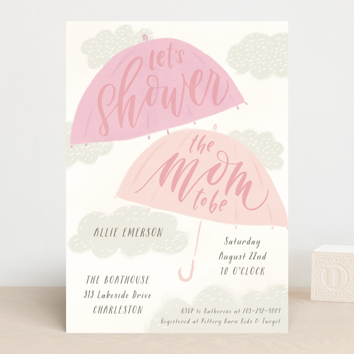 """""""A Chance of Showers"""" - Baby Shower Invitations in Aqua by Julie Murray."""