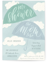 This is a blue baby shower invitation by Julie Murray called A Chance of Showers with standard printing on signature in standard.