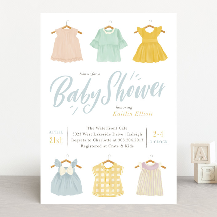 """Darling Dresses"" - Baby Shower Invitations in Pastel by Julie Murray."