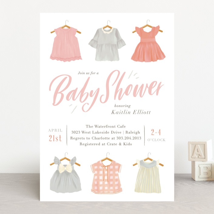 """""""Darling Dresses"""" - Baby Shower Invitations in Pastel by Julie Murray."""