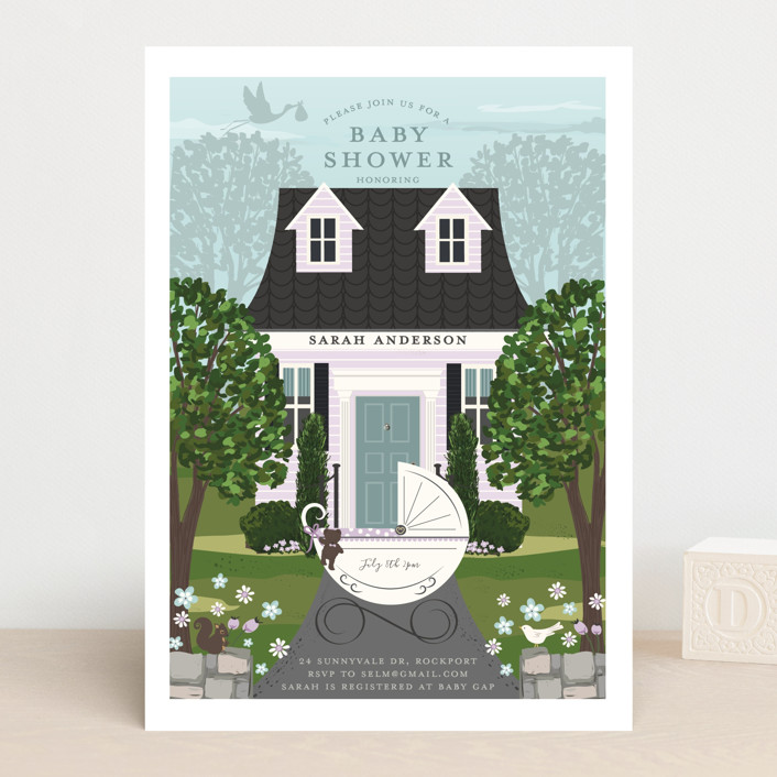 """""""Just Delivered"""" - Baby Shower Invitations in Blush by Susan Moyal."""