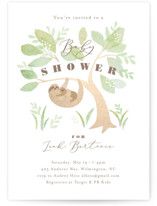 This is a brown baby shower invitation by Jennifer Wick called Baby sloth with standard printing on signature in standard.