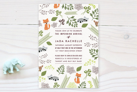 Woodland arrival baby shower invitations by bethan minted woodland arrival baby shower invitations filmwisefo Image collections