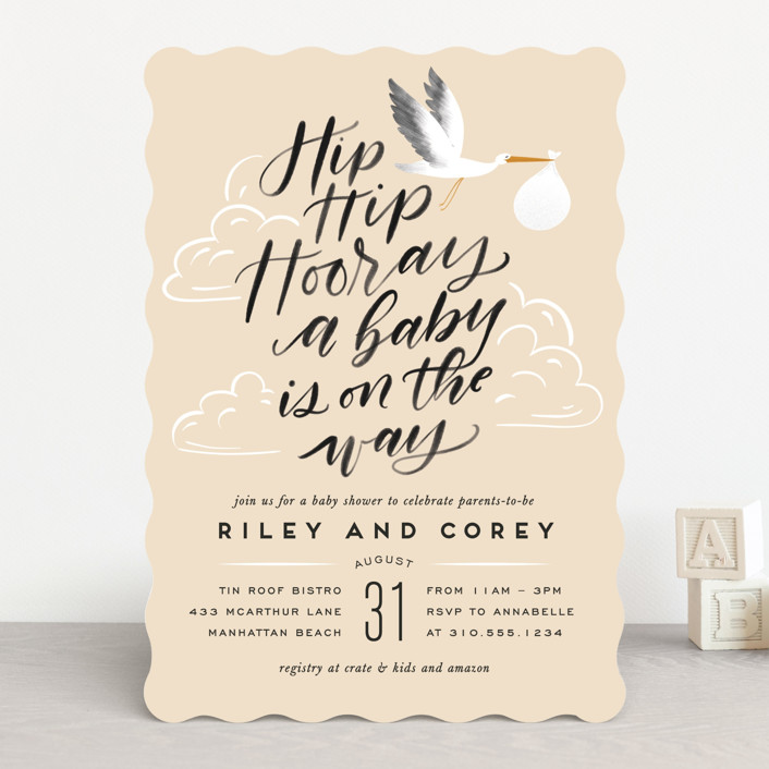 """Greatest Gift"" - Baby Shower Invitations in Sky by Leah Bisch."