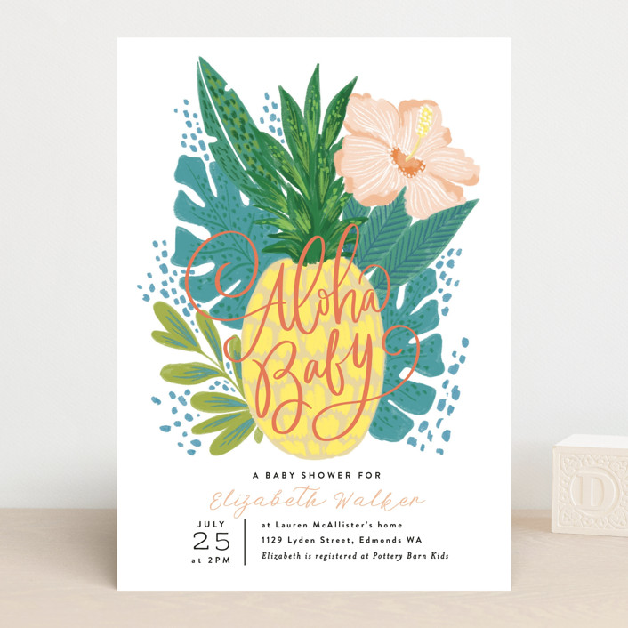 """""""Aloha Baby Pineapple"""" - Baby Shower Invitations in Forest by Alethea and Ruth."""