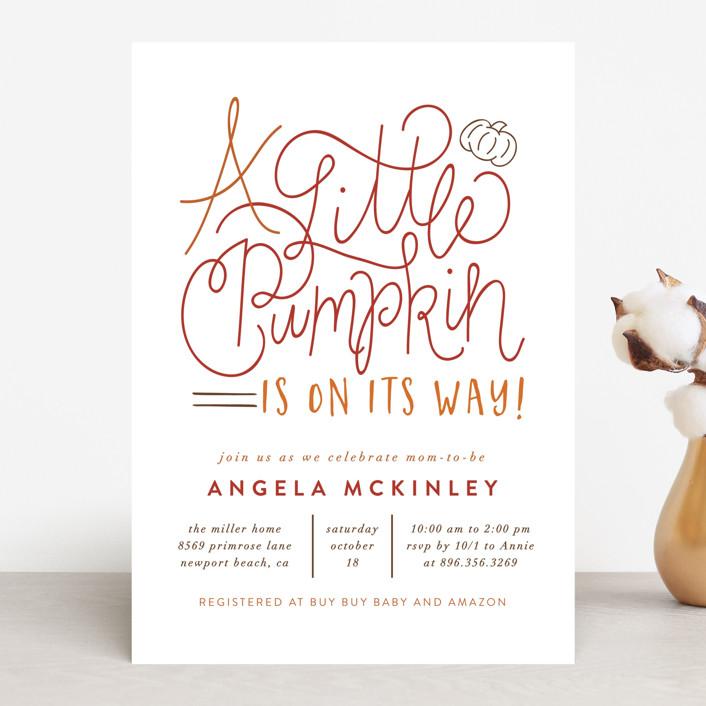"""A Little Pumpkin"" - Baby Shower Invitations in Seafoam by Amy Payne."