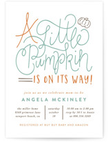 This is a green baby shower invitation by Amy Payne called A Little Pumpkin with standard printing on signature in standard.