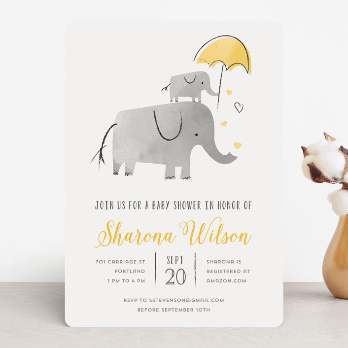 """""""Elephant Love"""" - Hand Drawn Baby Shower Invitations in Sky by Chryssi Tsoupanarias."""