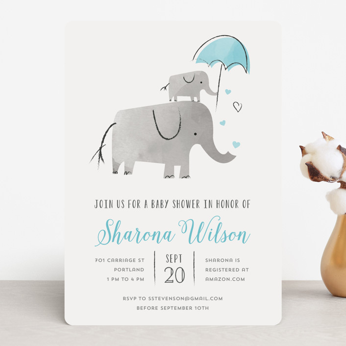"""Elephant Love"" - Hand Drawn Baby Shower Invitations in Sky by Chryssi Tsoupanarias."