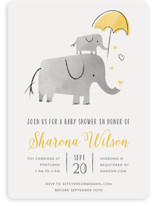 This is a yellow baby shower invitation by Chryssi Tsoupanarias called Elephant Love with standard printing on signature in standard.
