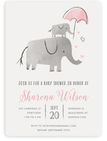 This is a pink baby shower invitation by Chryssi Tsoupanarias called Elephant Love with standard printing on signature in standard.
