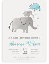 This is a blue baby shower invitation by Chryssi Tsoupanarias called Elephant Love with standard printing on signature in standard.