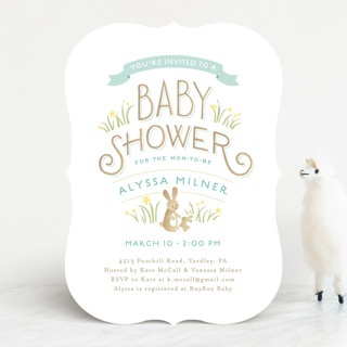 springtime bunnies baby shower invitations by jenn  minted, Baby shower invitations