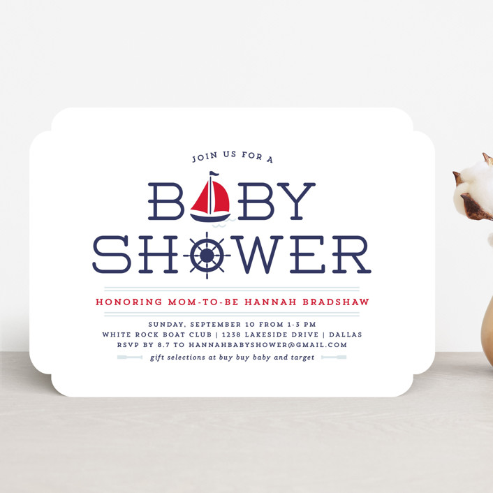 """Ahoy"" - Simple, Preppy Baby Shower Invitations in Apple by Lauren Chism."