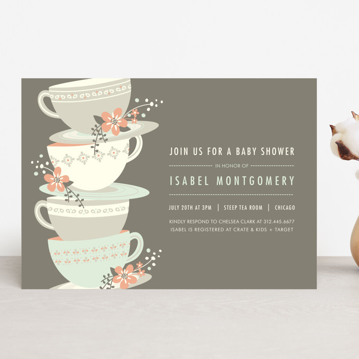 """Time for Tea"" - Floral & Botanical Baby Shower Invitations in Fawn by Angela Marzuki."