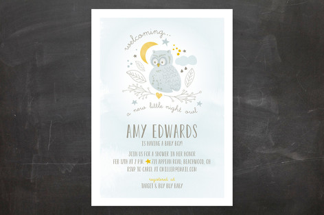 Night Owl Baby Shower Invitations