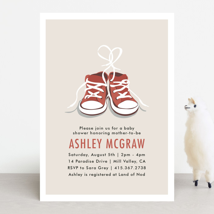 """""""Tiny Sneakers"""" - Whimsical & Funny Baby Shower Invitations in Cherry by Laura Condouris."""