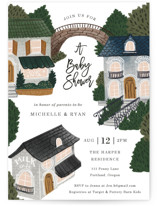 This is a blue baby shower invitation by Elly called The Village with standard printing on signature in standard.