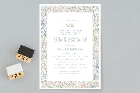 florals in pastels Baby Shower Invitations