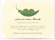 This is a yellow baby shower invitation by Annie Holmquist called Sweet Pea with standard printing on signature in standard.