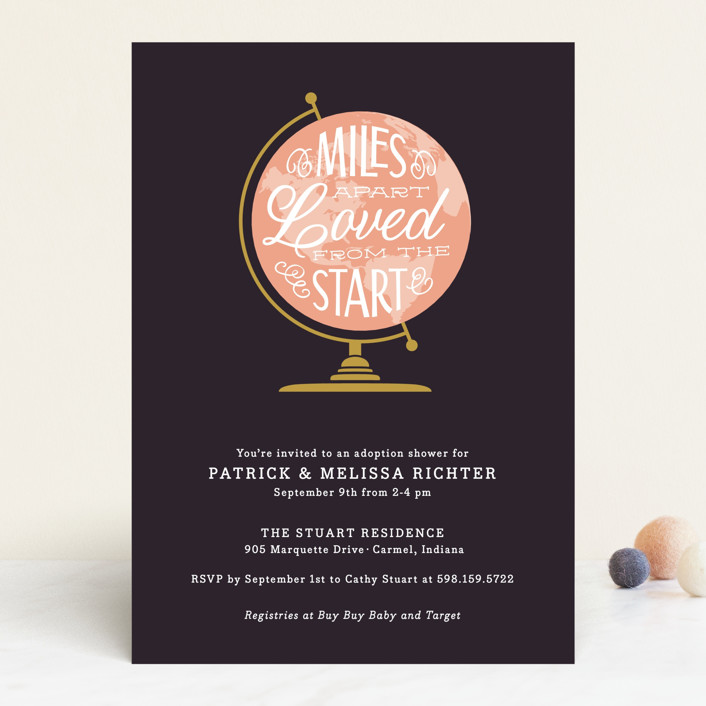 """""""Miles Apart"""" - Hand Drawn Baby Shower Invitations in Denim by Sarah Brown."""